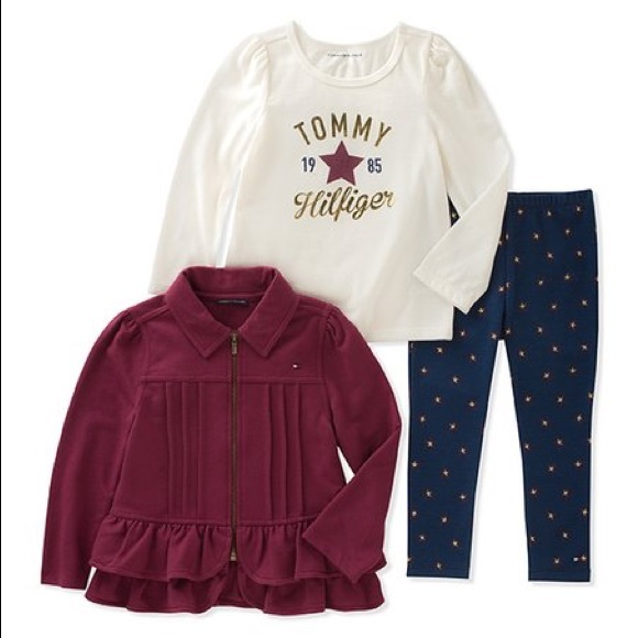 Tommy Hilfiger Other - Tommy Hilfiger Burgundy Ruffle Zip-Up Jacket Set